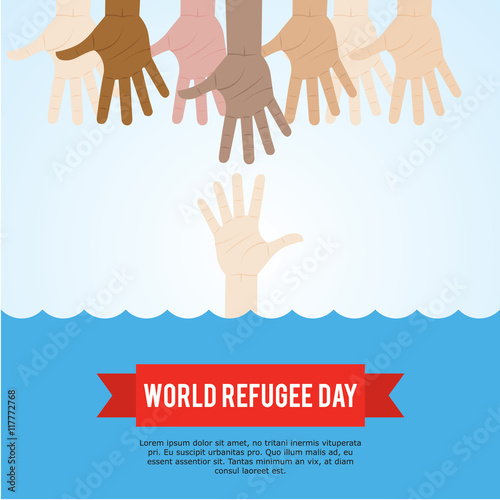 World refugee day campaign poster. Refugee awareness poster template ...