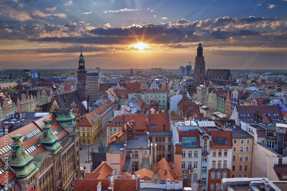 Fototapety, obrazy: Obraz Wrocław podczas zachodu słońca