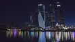 Moscow City from Day to Night. Moscow international business center. Timelapse.