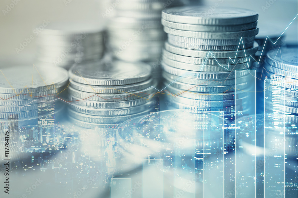 Fototapeta Double exposure of city and rows of coins for finance and banking concept