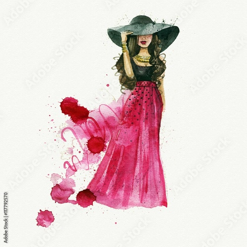 Foto op Plexiglas Art Studio Watercolor fashion woman