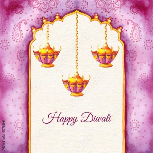 Hand painted happy Diwali background Slika na platnu