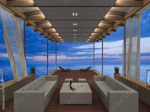 Tablou Canvas Abendstimmung am Meer in gemütlicher überdachter Veranda - 3D rendering