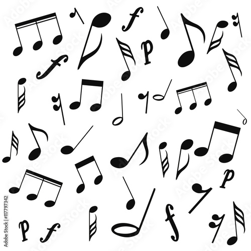 image about Printable Music Notes Symbols identified as musical symbols, musical notes, treble clef, vector, upon a