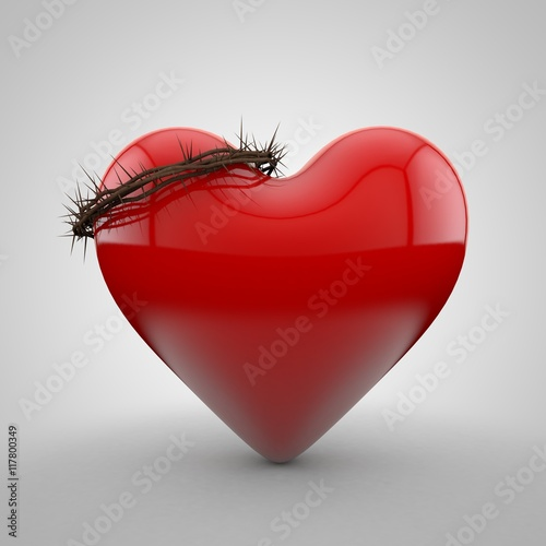 Fotografia 3D illustration of heart wearing Crown of thorns