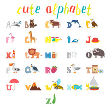 ABC. Children Alphabet With Cute Cartoon Animals And Other Funny
