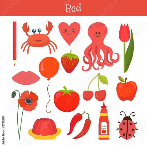 red learn the color education set illustration of primary col