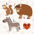 Zoo alphabet with funny animals. X, y, z letters. Xerus, yak, zo