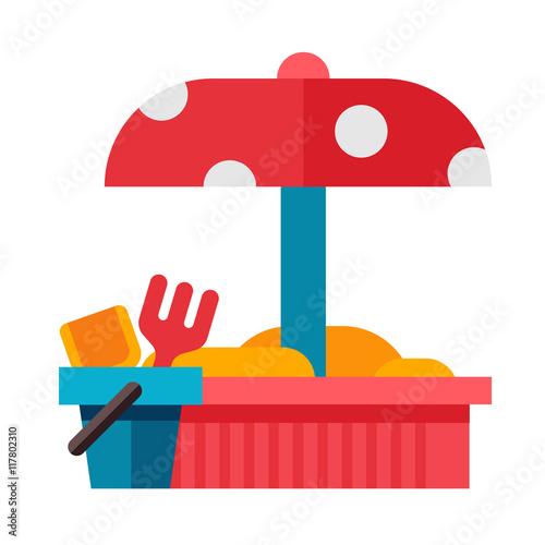 Illustration of a sandbox in flat style. #117802310