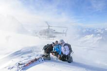 Landeanflug Auf Einem Gletscher Der Monte Rosa