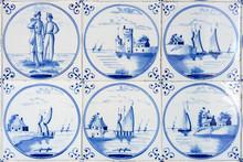 Six Typical Blue Delft Tiles