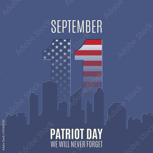 Fotografia  Patriot Day background with abstract city skyline.