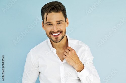 Sexy smiling male model Tablou Canvas