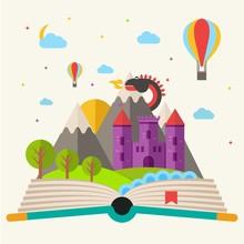 Fairy Tale Book In Flat Design