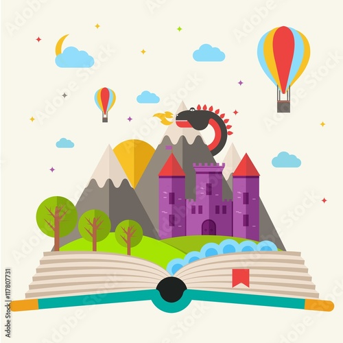 Fairy tale book in flat design
