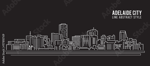 Cityscape Building Line art Vector Illustration design - Adelaide city фототапет