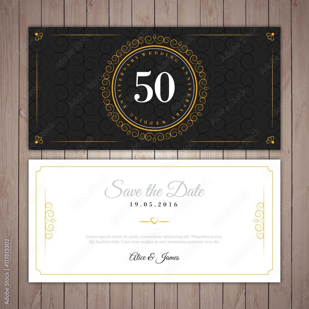 Elegante Einladung Der Goldenen Hochzeit Foto Poster