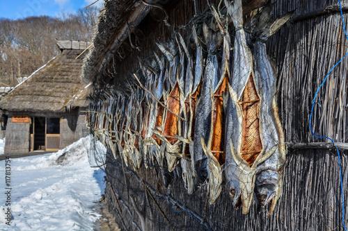 Fisherman's huts (Ainu's huts) Canvas Print