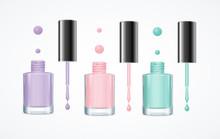 Colorful Nail Polish Open Bottle Set. Vector
