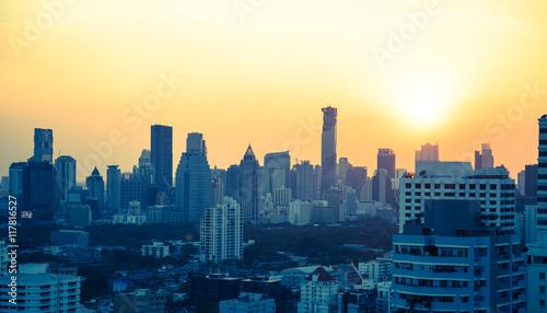 Bangkok skyline bei Sonnenuntergang Panorama Canvas Print