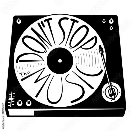 Retro turntable silhouette. Vector isolated illustration with vinyl records in black and white minimalistic style. Lettering hand-drawn composition Don't stop the music. Design element - 117817317