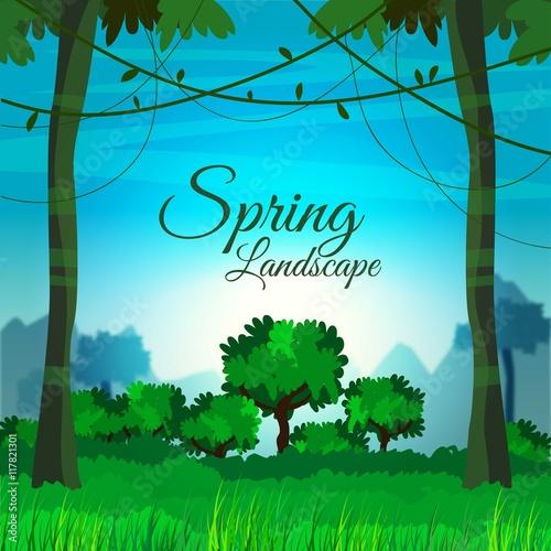 Spoed Foto op Canvas Turkoois Spring green landscape