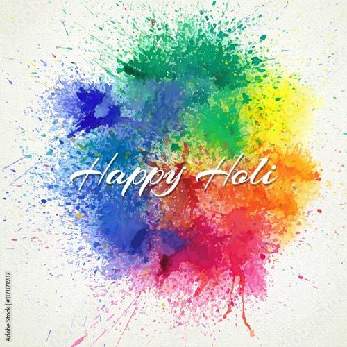 Fotografija  Splashes paint Happy Holi background