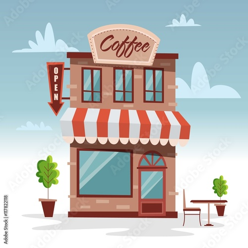 Tuinposter Drawn Street cafe Cute building coffee shop