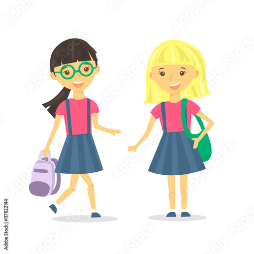 Cute school girls with school backpack. Vector Illustration. - Buy ... 50c3a7685dc8a