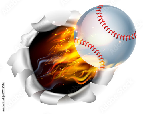 Photo  Flaming Baseball Ball Tearing a Hole in the Background