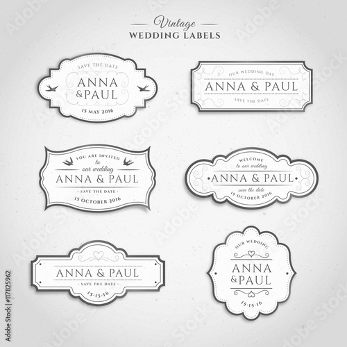 Photo  Vintage wedding labels in white color
