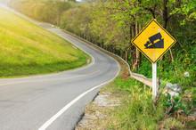 Traffic Alerts Downhill Slope.