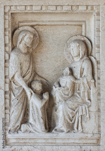 Detail on tomb in Basilica in Aquileia Canvas Print