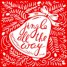 Jingle All The Way Lettering With Bell. Christmas Card