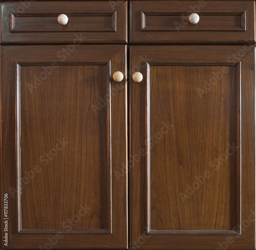 Fotomural Front kitchen wooden frame cabinet door and drawers made from da