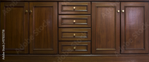 Fotografía Front kitchen wooden frame cabinet door and drawers made from da