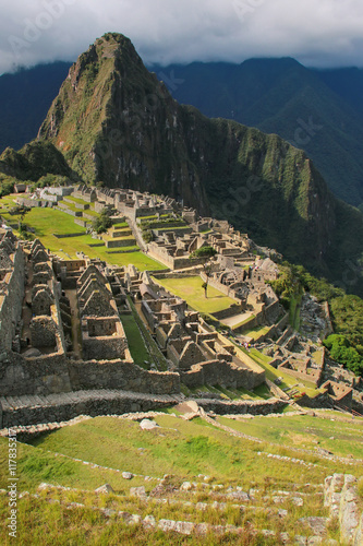 Photo Stands South America Country Inca citadel Machu Picchu in Peru