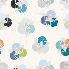 Fototapeta seamless background pattern, with triangles, circles, strokes an