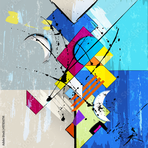 abstract background illustration, with strokes, splashes and geo