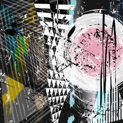 Fototapeta Wieloczęściowe abstract background composition, with strokes, splashes and geom