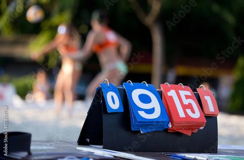 Scoreboard on beach volleyball match