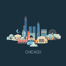 Vector Illustration Of Chicago...