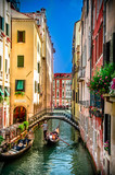 Fototapeta Uliczki - Beautiful scene with traditional gondola and canal in Venice, Italy