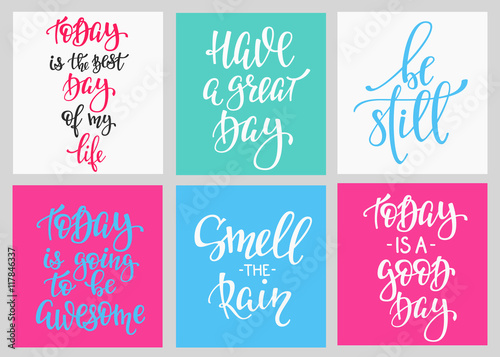 Staande foto Positive Typography Lettering postcard quotes set