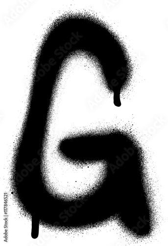 Acrylic Prints Graffiti sprayed G font graffiti with leak in black over white