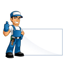 Handyman, He Has A Blank Billboard Where You Can Put Your Text