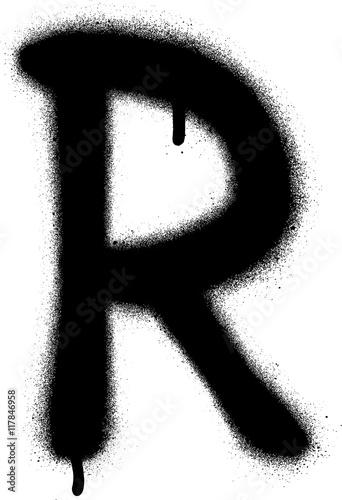 Acrylic Prints Graffiti sprayed R font graffiti with leak in black over white