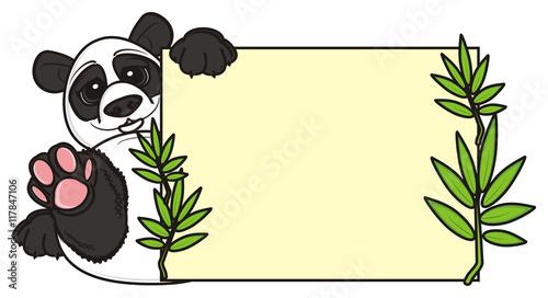 Fotobehang Boerderij plate, clean, panda, animal, zoo, illustration, isolated, china, cartoon bear, Asia, Profile, preschool, bamboo,