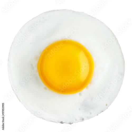 La pose en embrasure Ouf Fried egg isolated on white