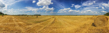 Summer Field With Straw Mows At Daylight Wide Panoramic Shot